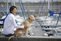 犬(ラブラドール・レトリーバー)と女性