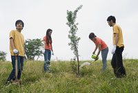 植林をする若者 11014019508| 写真素材・ストックフォト・画像・イラスト素材|アマナイメージズ