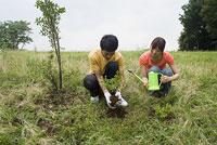植林をする若者 11014019518| 写真素材・ストックフォト・画像・イラスト素材|アマナイメージズ