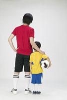 サッカースタイルの親子