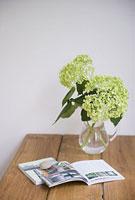 テーブルの上のアジサイと本