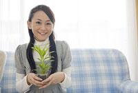 ソファに座り観葉植物を持つ女性