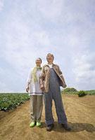 畑の中の道に立つシニアカップル