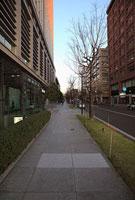 丸の内オフィス街の歩道