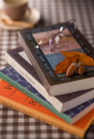 落ち葉とドングリの乗った本