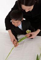 チューリップの花を手向ける喪服姿の母親と息子