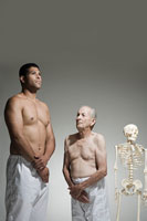 Two men and a skeleton