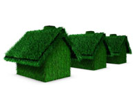 Grass covered houses in a row