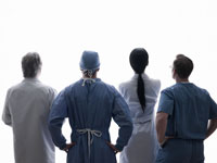 Rear view of medical professionals