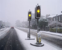Traffic lights and snow