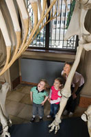 Mother and children looking at dinosaur skeleton