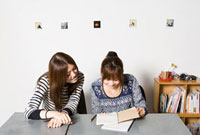 Young women looking at notebook