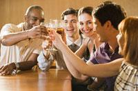 Friends celebrating in a bar