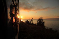 Trans-siberian express at sunrise