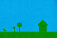 Green coloured house with trees and dog