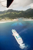 Aerial view from paraglider of cruise ship