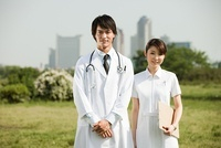 Male doctor and female nurse, portrait