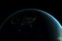 Planet earth with lights of North America at night