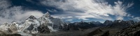 Panorama of Himlayas, Nuptse, Lhotse and Mount Everest