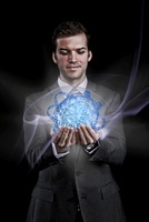 Man holding holographic information ball
