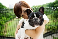 Woman with pet french bulldog