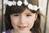 Close up of girl wearing flower crown