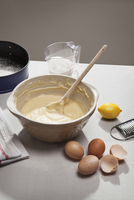 Eggshells, flour, lemon and batter