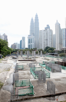 Petronas Towers overlooking building site, Kuala Lumpur , Ma