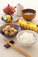 Still life of japanese meal with tea