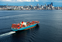 Aerial view of container ship, Seattle, Washington State, US