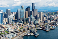 Aerial view of Seattle waterfront and ferris wheel, Washingt