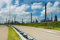 Motorway and oil refinery in Rotterdam Harbour, Holland