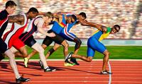 Six athletes starting finishing race