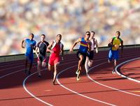 Six athletes running race