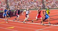 Six athletes running relay race