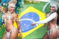 Samba dancers with brazilian flag, Rio De Janeiro, Brazil