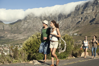 Young couple enjoying city view, Cape Town, South Africa