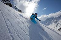Woman off piste skiing in Kuhtai , Tirol, Austria