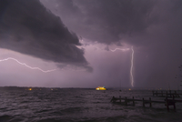 View of storm and lightning on Lake Starnberg, Bavaria, Germany