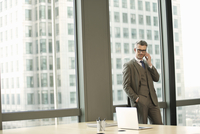 Portrait of businessman in high rise office