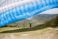 Couple paragliding, Wallberg, Tegernsee, Bavaria, Germany