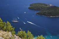 View from Mount Srd of cruise ships and sailboats on the Adriatic sea, Dubrovnik, Dalmatia region, Croatia, Eastern Europe