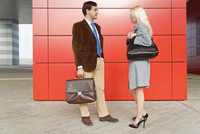 Businessman and businesswoman, standing face to face