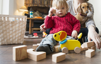 Boy sitting on floor with wooden toys