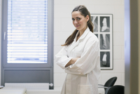 Portrait of young female orthopedic doctor in clinic