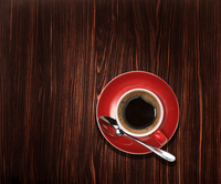 Overhead view of an espresso coffee on wooden table