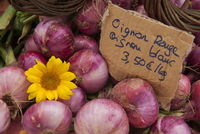 Traditional French market stall with onions on display, Issigeac, France