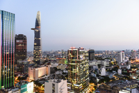 High angle cityscape at dusk, Ho Chi Minh city, Vietnam