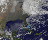 Hurricane Sandy, October 30 2012. NASA Earth Observatory image by Jesse Allen, using VIIRS Day-Night Band data from the Suomi Na