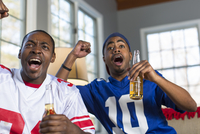 Two male friends celebrating whilst watching TV from sofa